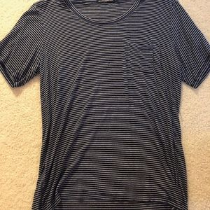 Brandy Melville Navy Blue and Wine Striped T-shirt
